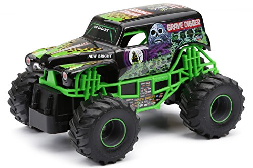 New Bright 2430 Monster Jam Grave Digger RC Truck, 1:24 (7-Inch) Scale (Digger With Remote Control)