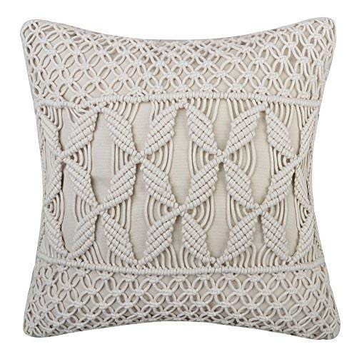 JWH Hand Woven Cushion Cover Decorative Woolen Yarn Cable Knitted Accent Pillow Case Home Sofa Bed Living Room Chair Decor PillowcasesSquare 18 x 18 ()