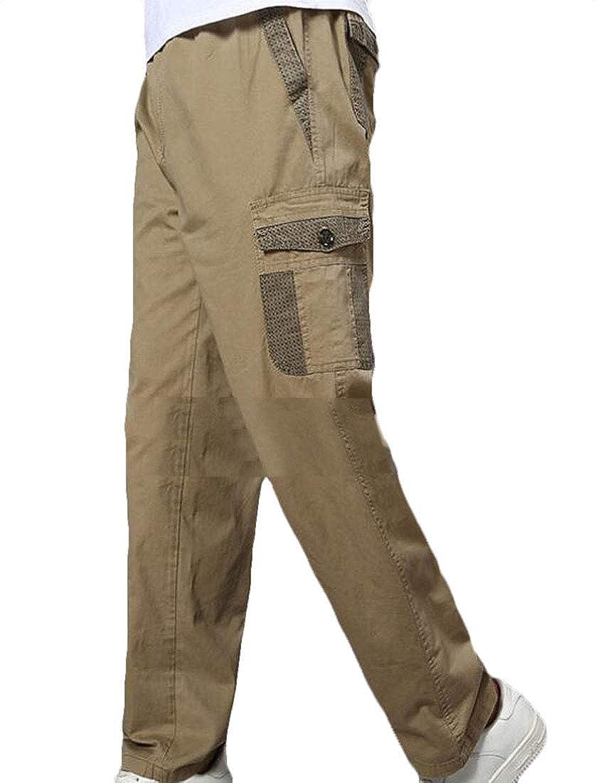 BYWX Men Straight-Fit Multi-Pockets High Waist Cargo Twill Pants