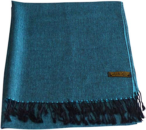 New Shawl Scarf Silk (CJ Apparel Black & Turquoise Solid Color Shawl Seconds Scarf Wrap Pashmina NEW)