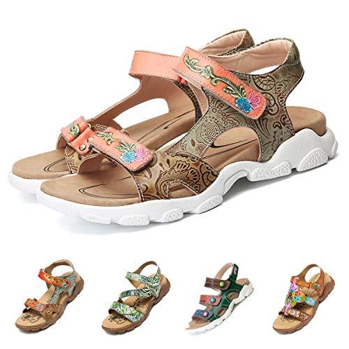 Ajustables Correas Plataforma Sandalias Loop Playa Verano De Con Zapatos Para Gracosy Bajos Tirantes Caminar Mujer Huecos Hook Planas Tacones Marrón Cuero Cómodas Deportivas vZnnqY6