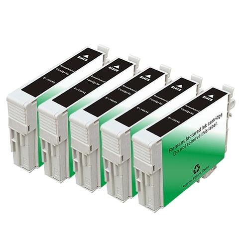 Abacus24-7 Remanufactured Ink Cartridges Replacement for Epson T069120, T0691, T069 (5xBlack, 5-Pack)