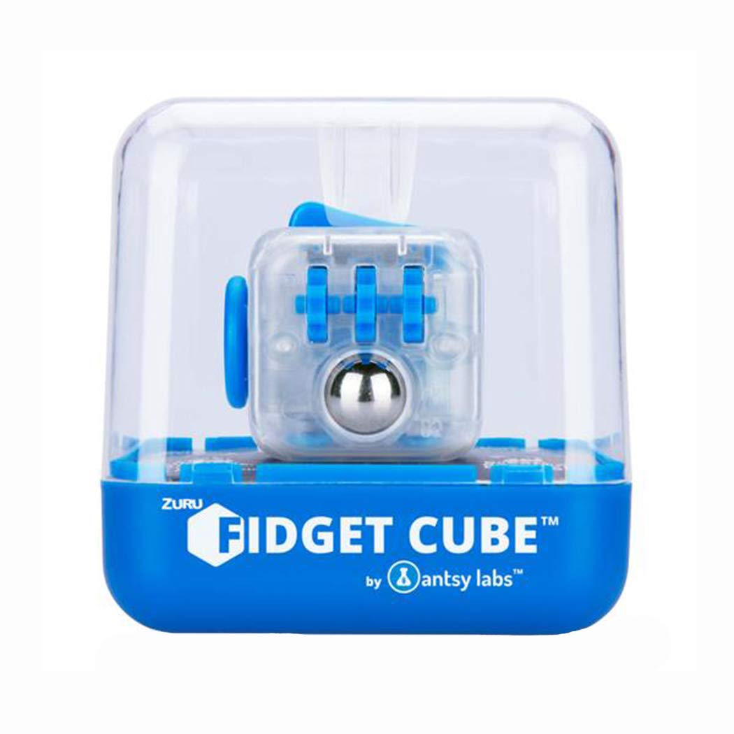 Zuru Fidget Cube by Antsy Labs - Custom Series (Solid Blue Switch) Clear Fidget Cube with Blue Accents by ZURU