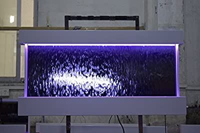 "Wall WaterFall XL 47""x24"" White frame wall fountain ,Mirror Glass , Color Lights Remote Ctrl $100 OFF SALE"