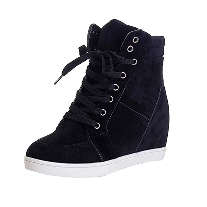half off pretty cool new styles Womens Girls Wedges Shoes 5.5-8,Casual Lace-up Platform Sneaker Boots for  Party