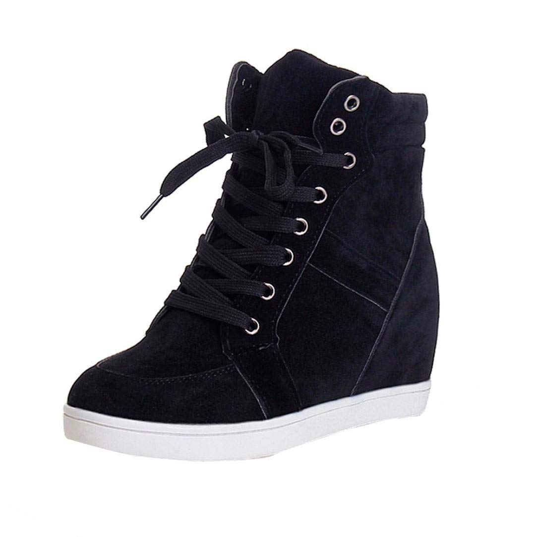 Clearance Womens Girls Wedges Shoes 5.5-8,Casual Lace-up Platform Sneaker Boots for Party (Black, US:7.5)