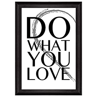 Amazing Portrait, Black and White Half Heart with a Quote Do What You Love Framed Art, Premium Product