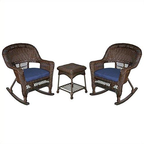 Jeco 3pc Wicker Rocker Chair Set in Espresso with Blue Cushion