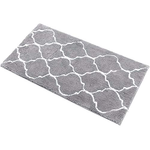 HEBE Large Bath Rug Runner for Bathroom 55″x27.5″ Non Slip Extra Long Microfiber Bath Floor Mats Machine Washable Area Rug Absorbent Bath Shower Mat, Geometric Grey