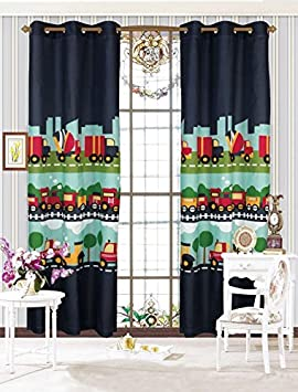MK Home Mk Collection 2 Panel Curtain Grommet Cars Train Boys Dark Blue Green Blue New Set