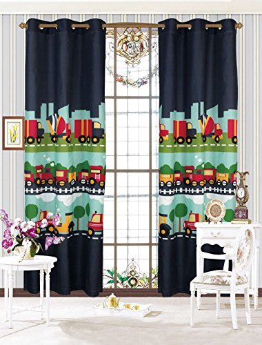 MK Home Mk Collection 2 Panel Curtain With Grommet Cars Train Boys Dark Blue Green Blue New Set