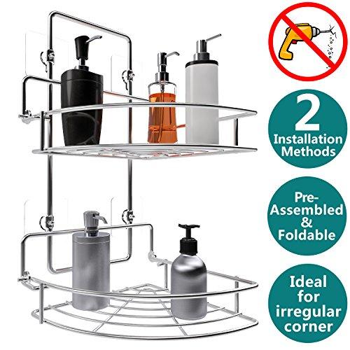 Vdomus Shower Caddy 2 Tier Bathroom Corner Shelf Organizer Polished Chrome No Drilling Needed Basket Holder for Kitchen