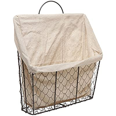 Country Rustic Wall-Mounted Metal Wire Hanging Magazine/Newspaper Storage Basket w/Beige Linen Fabric - Hanging space saving storage basket featuring country style rustic chicken wire construction. Lining is made of beige linen fabric. To attach to any wall, simply hook this top loop onto the appropriate mounting hardware (not included). - living-room-decor, living-room, baskets-storage - 517g FmR4OL. SS400  -