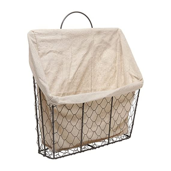 Country Rustic Wall-Mounted Metal Wire Hanging Magazine/Newspaper Storage Basket w/Beige Linen Fabric - Hanging space saving storage basket featuring country style rustic chicken wire construction. Lining is made of beige linen fabric. To attach to any wall, simply hook this top loop onto the appropriate mounting hardware (not included). - living-room-decor, living-room, baskets-storage - 517g FmR4OL. SS570  -