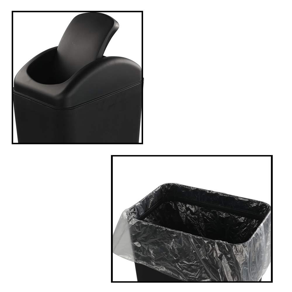 1 Paquete Color Negro Ucake 10 L Cubo de Basura Papelera de Pl/ástico con Tapa Basculante