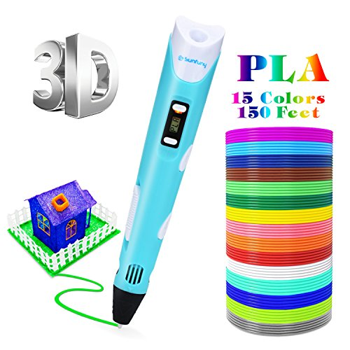 Sunfuny 3D Pen Set with PLA Filament Refiils,3D Doodler Printing Drawing Printer Pen Kit Bonus 15 Colors 150 Feet PLA,LCD Display 3D Print Pen Gift for Kids Adults Arts Crafts Model DIY,Non-Clogging by Sunfuny