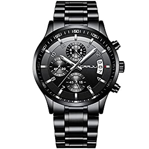CRRJU Men's Wristwatches, Multifunctional Chronograph Wristwatches,Stainsteel Steel Band Waterproof Watch