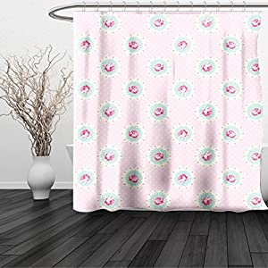 HAIXIA Shower Curtain Shabby Chic Retro Polka Dotted Backdrop and Floral Motifs Roses Cottage Baby Pink White Seafoam