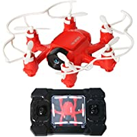 2.4GHz Six Gyro Foldable Drone FPV WIFI Real-Time Video Remote Controlled Rechargeable Mini Quadcopter Pocket Aircraft with HD Camera Spider(Red-FQ126)