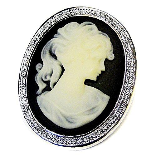 Rodeo Couture Bridal Antique Silver Black & Vanilla Cameo Brooch