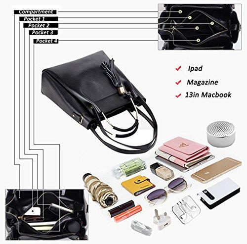 Girls Black PU Leather Women Handbag Tibes Top Fashion handle Shoulder Purse A Tassel 7tnfwtqW50