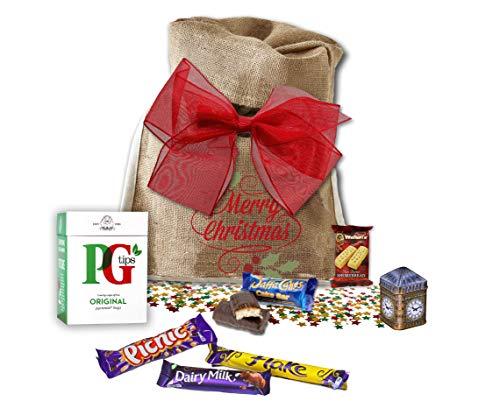It's always Tea Time British Hamper | Original PG Tips & New English Tea Big Ben Tin Shortbread | Cadbury Chocolates, Jaffa Cakes | in Basically British Gift Bag (Christmas - Hamper Chocolate Imported