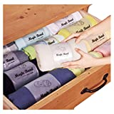 HARRA HOME Roll Up Travel Bags Luggage Space Saver Storage Organizer For Clothing drawers Cloth  Garment  – Clothes stacker for Space Saving Dresser Drawer Closet