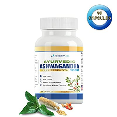 Ayurvedic Ashwagandha 1000 - Raw Ashwagandha root & KSM-66 standardized extract - All Natural, Extra Strength, 90 veg caps, Anxiety & Menopause Relief, Boosts Brain & Thyroid Function, & more!