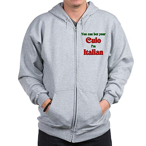(CafePress You Bet Your Culo I'm Italian Zip Hoodie, Classic Hooded Sweatshirt with Metal Zipper Heather Grey)