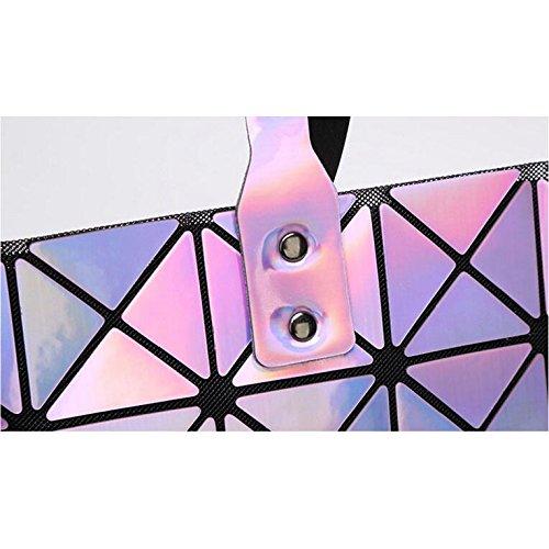 geometrica PU fashion donna Borsa a argento pieghevole 12 44L Viola 28cm in tracolla da XUEYAN XBxYwqX