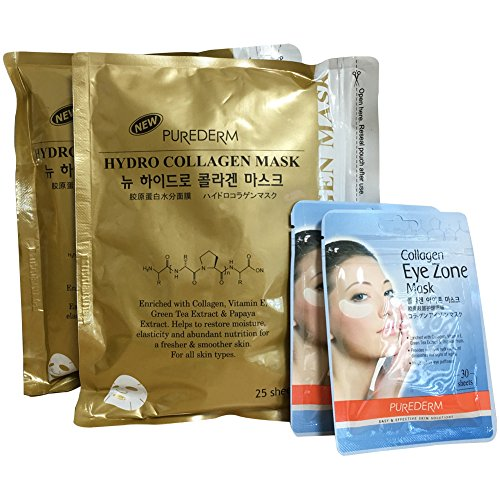 Purederm New Hydro Gold Collagen Facial Mask  + Eye Zone Ma