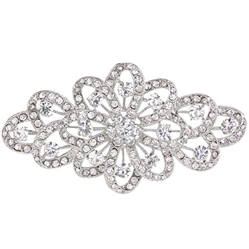 EVER FAITH 4 Inch Bridal Silver-Tone Flower Ribbon Brooch Clear Austrian Crystal