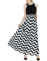 Wantdo Women's Chevron Dress Boho Maxi Dress Plus Size