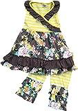 Little Girl Kids Sleeveless Floral Stripes Dress Ruffle Capris Set Yellow 6 XL 317229