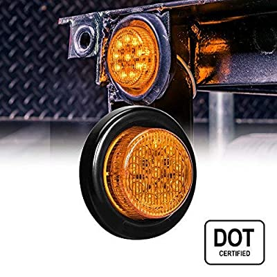 """2"""" Round 10 LED Light [2 in 1 Reflector] [Polycarbonate Reflector] [10 LEDs] [D.O.T. Certified] [2 Year Warranty] Side Marker Light for Trucks and Trailers - Amber: Automotive"""