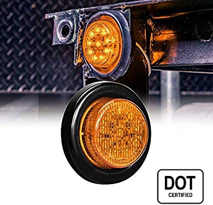 4PC 2.5 Round 10 LED Light D.O.T. Certified Side Marker Light for Trucks and Trailers Red 13 LEDs 2 Year Warranty 2 in 1 Reflector Polycarbonate Reflector