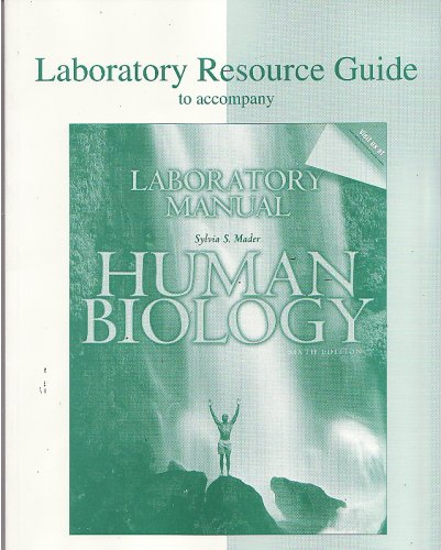 Human Biology 6th Edition - Laboratory Manual Resource Guide (Laboratory Resource Guide to accompany Laboratory Manual Human Biology Sixth Edition)