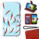 Wallet Leather Card Holder Case Fit for Galaxy S6 Red Hot Peppers Stand Shockproof Bumper Protective Cover Wrist Chain Strap