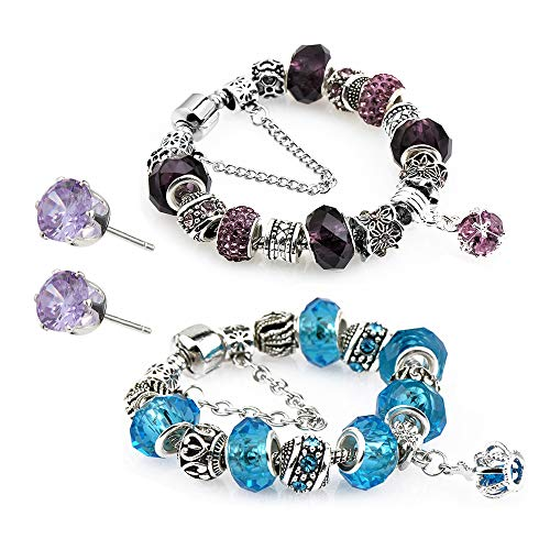 Revki Glass Beads Charm Bracelet Enameled Crown Silver Plated Charm Bracelet 2 European Style Snake Chain Bracelet Gifts 20cm (7.8