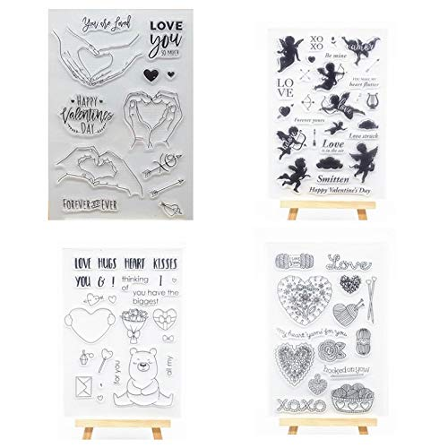 Welcome to Joyful Home 4pcs/Set Happy Valentine's Day Love Rubber Clear Stamp for Card Making Decoration and Scrapbooking ()