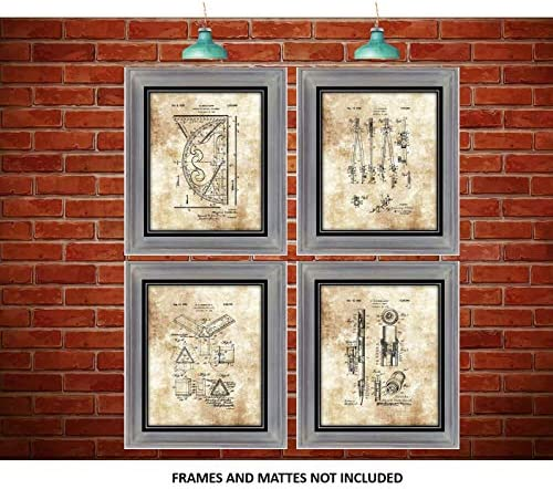 Home Office Decor Engineers Great Gift for Architects Interior Designers Architecture Accessories and Equipment Drawings Artwork Set of 4 8 x 10 Unframed Patent Prints
