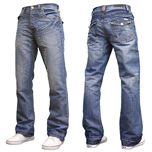 APT Mens Designer Branded Basics Regular Fit Bootcut Jeans, 28