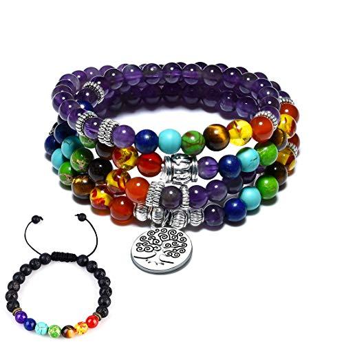 - CAT EYE JEWELS 6MM Natural Amethyst 108 Mala Beads Necklace 7 Chakra Yoga Buddhist Meditation Rosary Prayer Tree of Life Charm Bracelet Lava Rock Beads Diffuser Bracelet