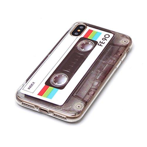 Coque iPhone X Ruban blanc Premium Gel TPU Souple Silicone Protection Housse Arrière Étui Pour Apple iPhone X / iPhone 10 (2017) 5.8 Pouce + Deux cadeau