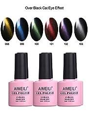 AIMEILI Cat Eye Gel Polish Magnetic Soak Off UV LED Nail Art Manicure Set Multicolour/Mix Colour/Combo Colour Set Of 6pcs X 10ml - Kit Set 27