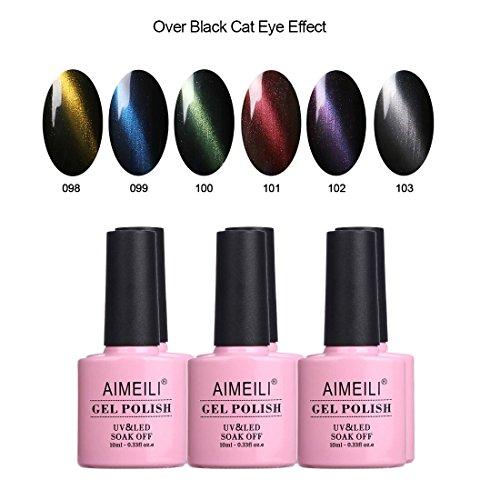 AIMEILI Cat Eye Gel Nail Polish Magnetic Soak Off UV LED Nail Art Manicure Color Set Of 6pcs X 10ml - Kit Set 27