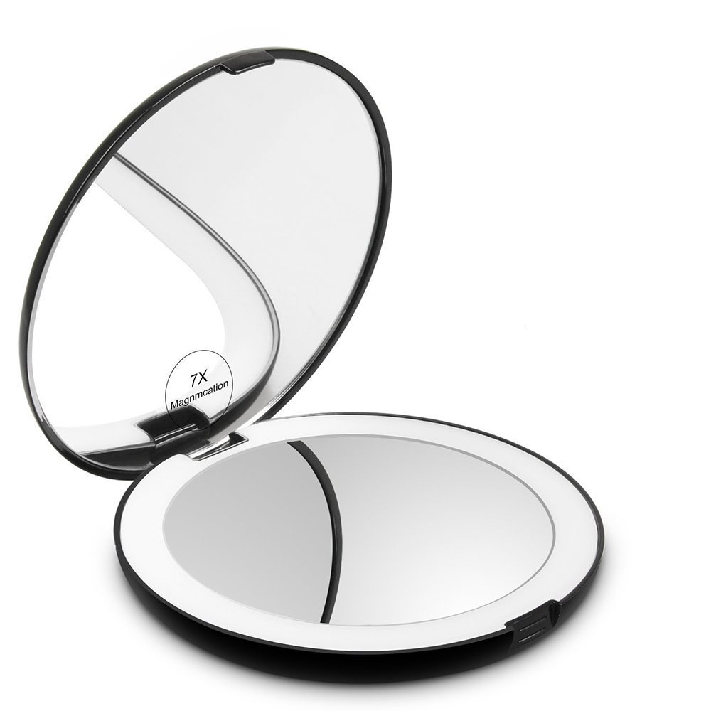 Makeup Mirror, Magnifying LED Lighted Make Up Mirror with 1X and 7X Magnification, Foldable Double Sided Hand Vanity Mirror for Cosmetic, Beauty Makeup and Travel Playmont