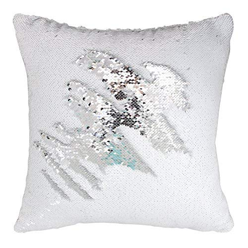 Play Tailor Mermaid Sequin Pillow Case Magic Reversible Sequins Pillow Cover Throw Cushion Case 16x16(Silver-White)