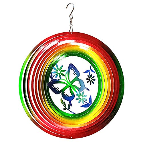 FONMY Kinetic 3D Metal Garden Wind Spinner Quality Hanging Ornament for Home and Garden 12inch Rainbow Color Butterfly Wind - Wind Spinner Spinners Inch 12