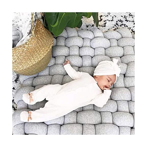Wonder Space Knot Plush Baby Sleeping Mat, Soft Cotton Square Nursery Rug, Fashion Nursery Room Decor for Infant Toddler and Children (Grey)